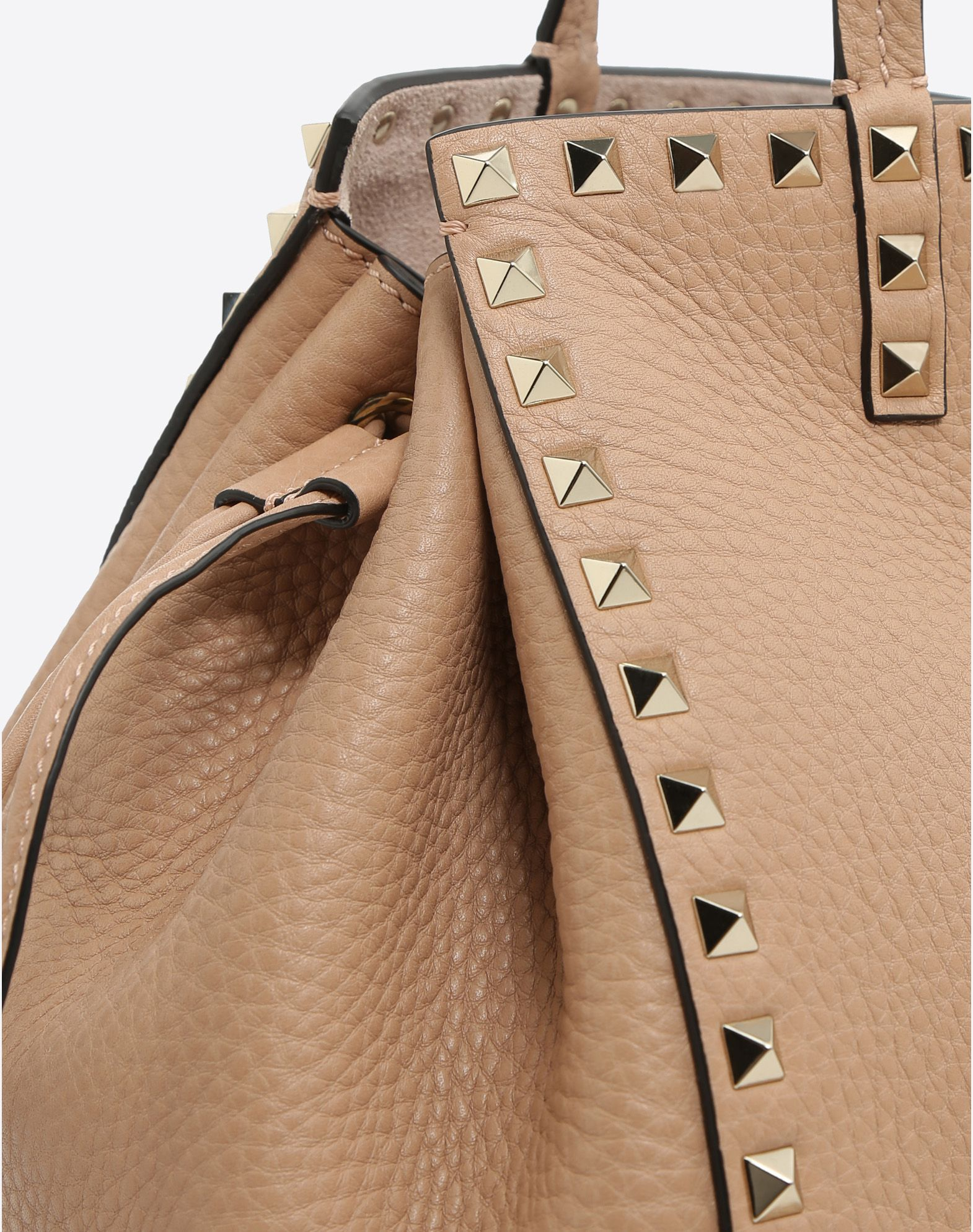 VALENTINO Textured leather Logo Studs Solid colour Internal pockets  45365687xn