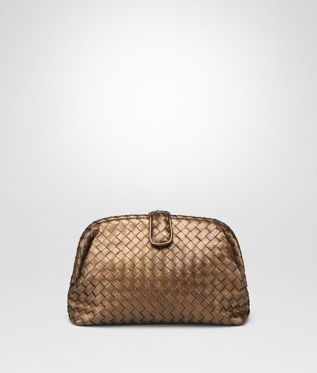 BOTTEGA VENETA ORO SCURO INTRECCIATO NAPPA THE LAUREN 1980 CLUTCH Clutch Woman fp