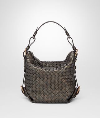 DARK BRONZE INTRECCIATO NAPPA SHOULDER BAG