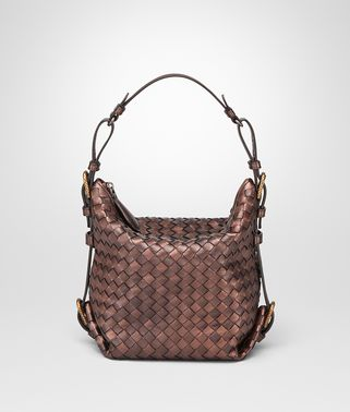 DARK COPPER INTRECCIATO NAPPA SHOULDER BAG