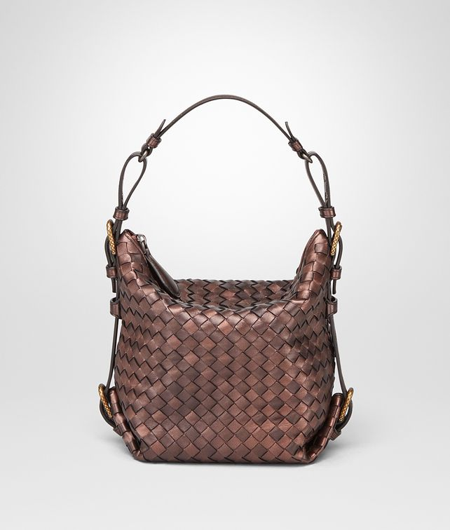 BOTTEGA VENETA DARK COPPER INTRECCIATO NAPPA SHOULDER BAG Shoulder or hobo bag D fp