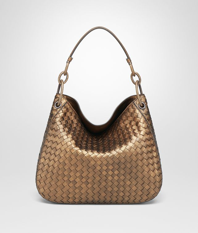 BOTTEGA VENETA ORO SCURO INTRECCIATO NAPPA SMALL LOOP BAG Shoulder or hobo bag D fp