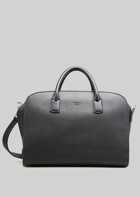 LEATHER HOLDALL WITH DOUBLE HANDLE