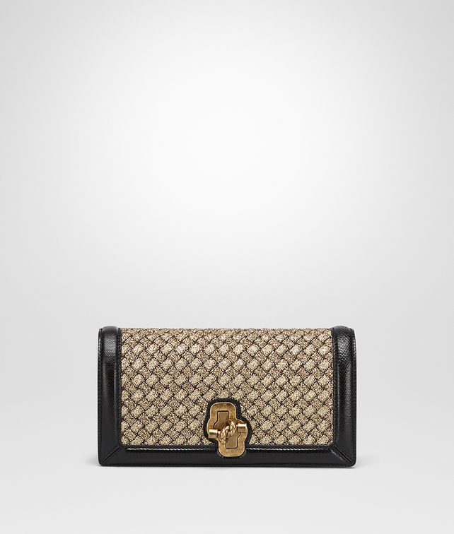 BOTTEGA VENETA KNOT CLUTCH AUS INTRECCIATO STRICK IN ORO BRUCIATO Clutch Damen fp