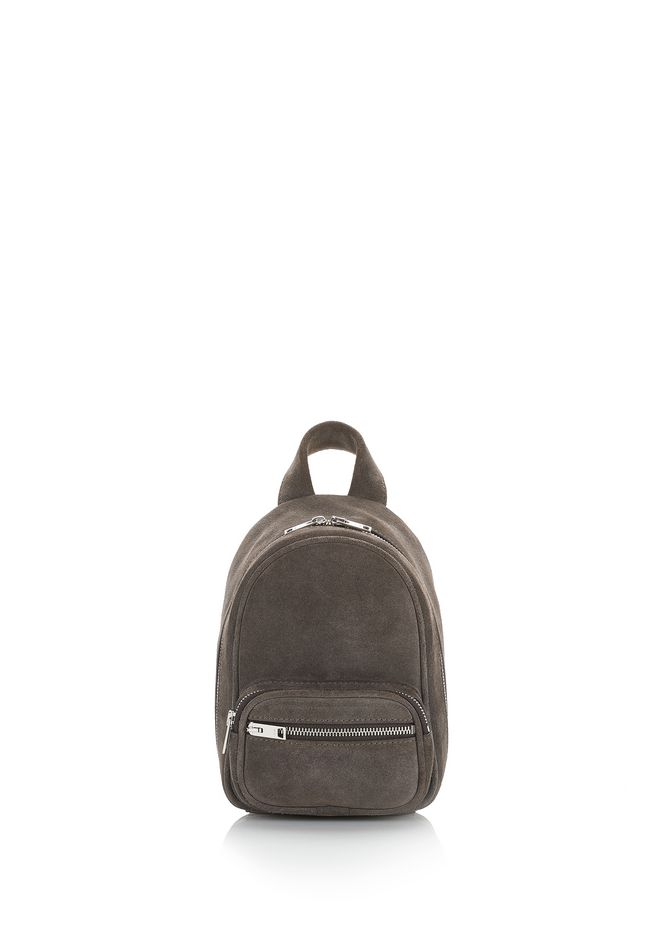 ATTICA SOFT MINI BACKPACK IN SUEDE MINK WITH RHODIUM