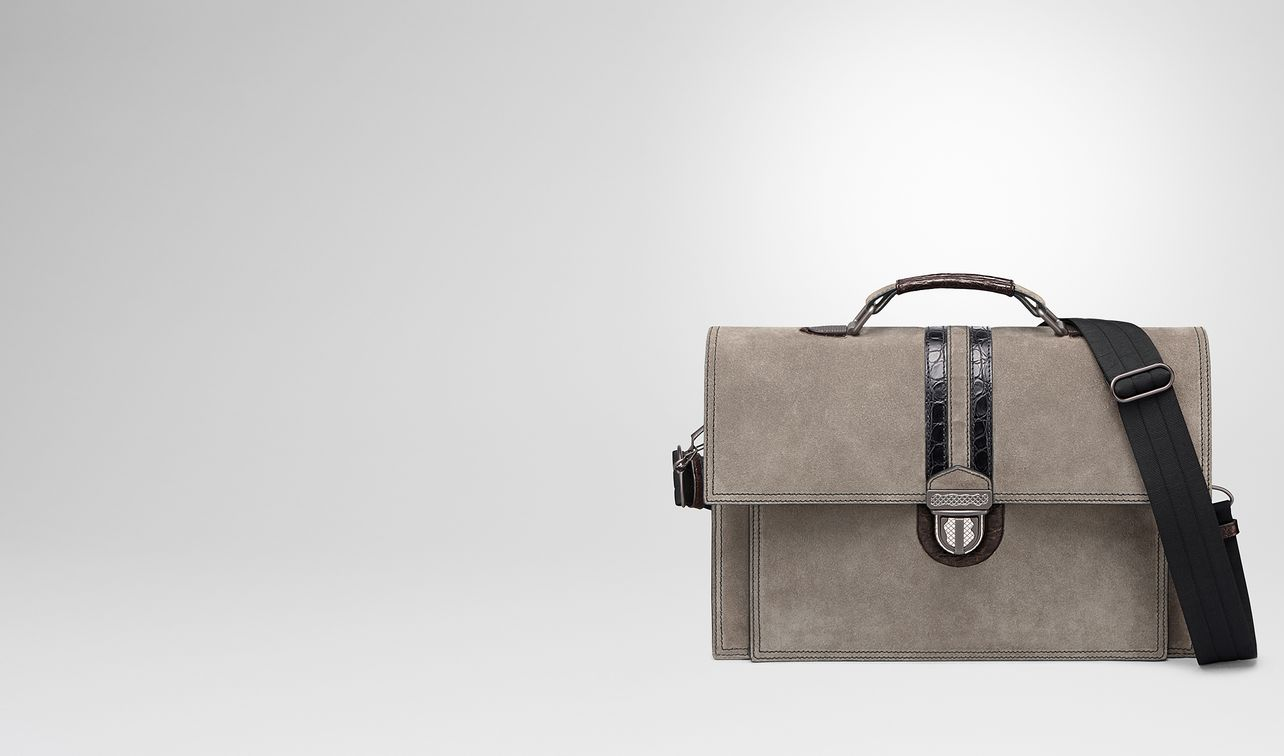 steel suede briefcase landing