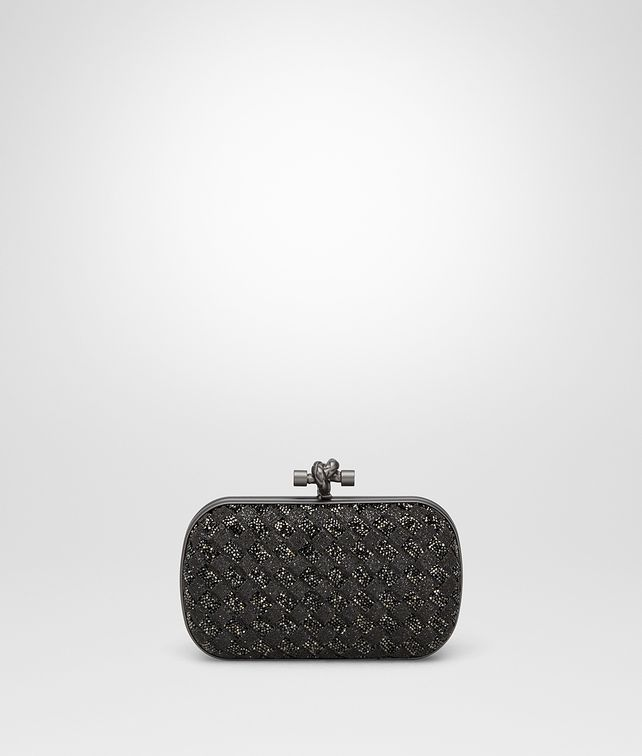 BOTTEGA VENETA NERO ANTICO CRYSTALS KNOT Clutch Woman fp