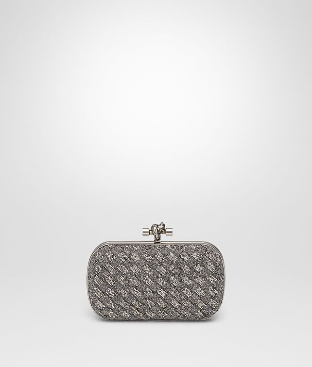BOTTEGA VENETA ARGENTO SCURO CRYSTALS KNOT Clutch Woman fp