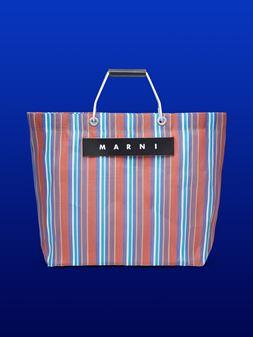 Marni MARNI MARKET red and blue striped shopping bag in polyamide  Man