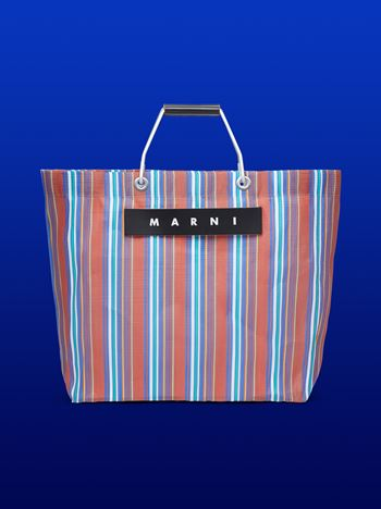 Marni Brown striped shopping bag Man