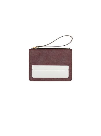 Marni Clutch in burgundy Saffiano leather Woman