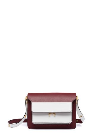 Marni TRUNK bag in saffiano burgundy Woman