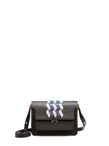 Marni Black TRUNK shoulder bag with two-tone intarsia Woman