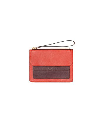 Marni Clutch in red Saffiano leather Woman