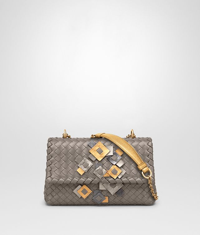 BOTTEGA VENETA BABY OLIMPIA IN INTRECCIATO NAPPA STEEL WITH Kaleidoscope DETAILS Shoulder or hobo bag D fp