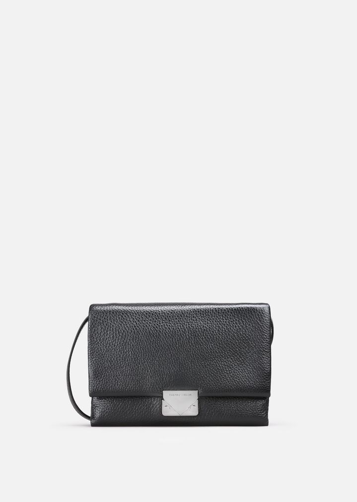df6e0fa146 LEATHER CLUTCH BAG WITH SHOULDER STRAP