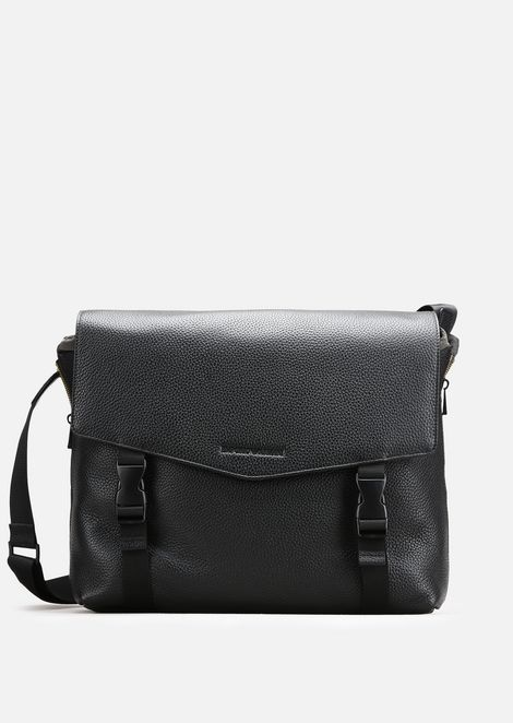 GRAINY LEATHER AND NYLON MESSENGER BAG