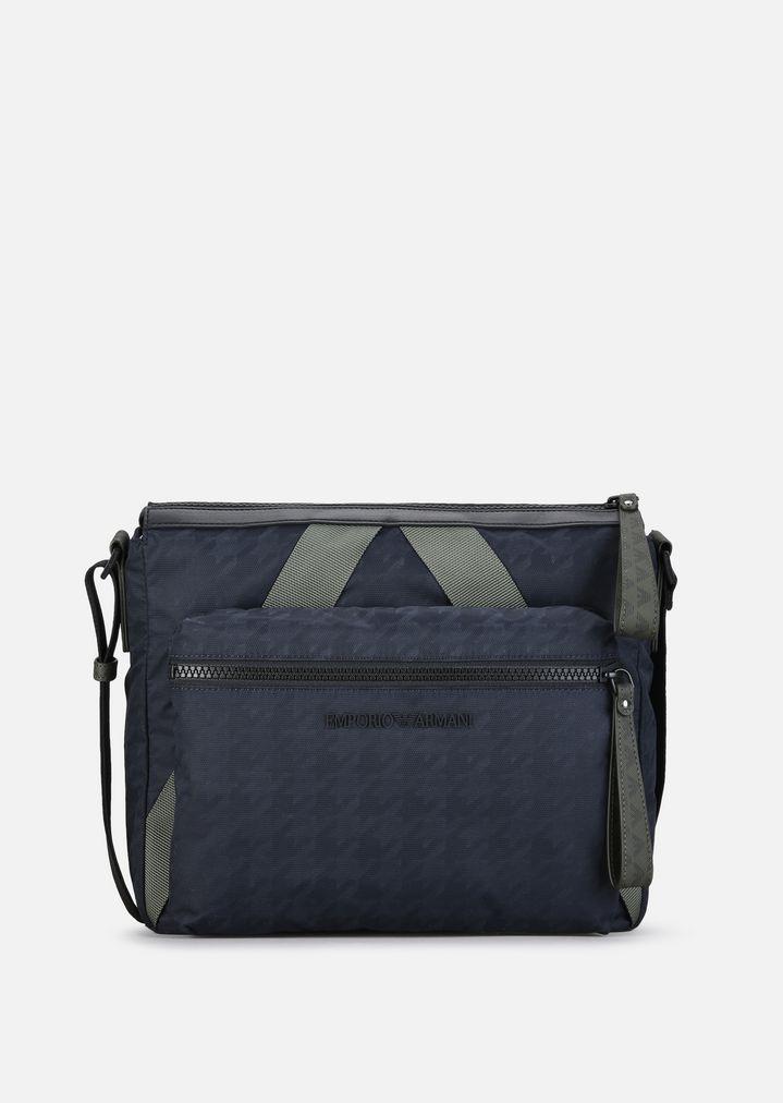 c2650efba83f1 EMPORIO ARMANI HOUNDSTOOTH NYLON AND DOUBLE PVC REPORTER BAG Crossbody Bag  Man f