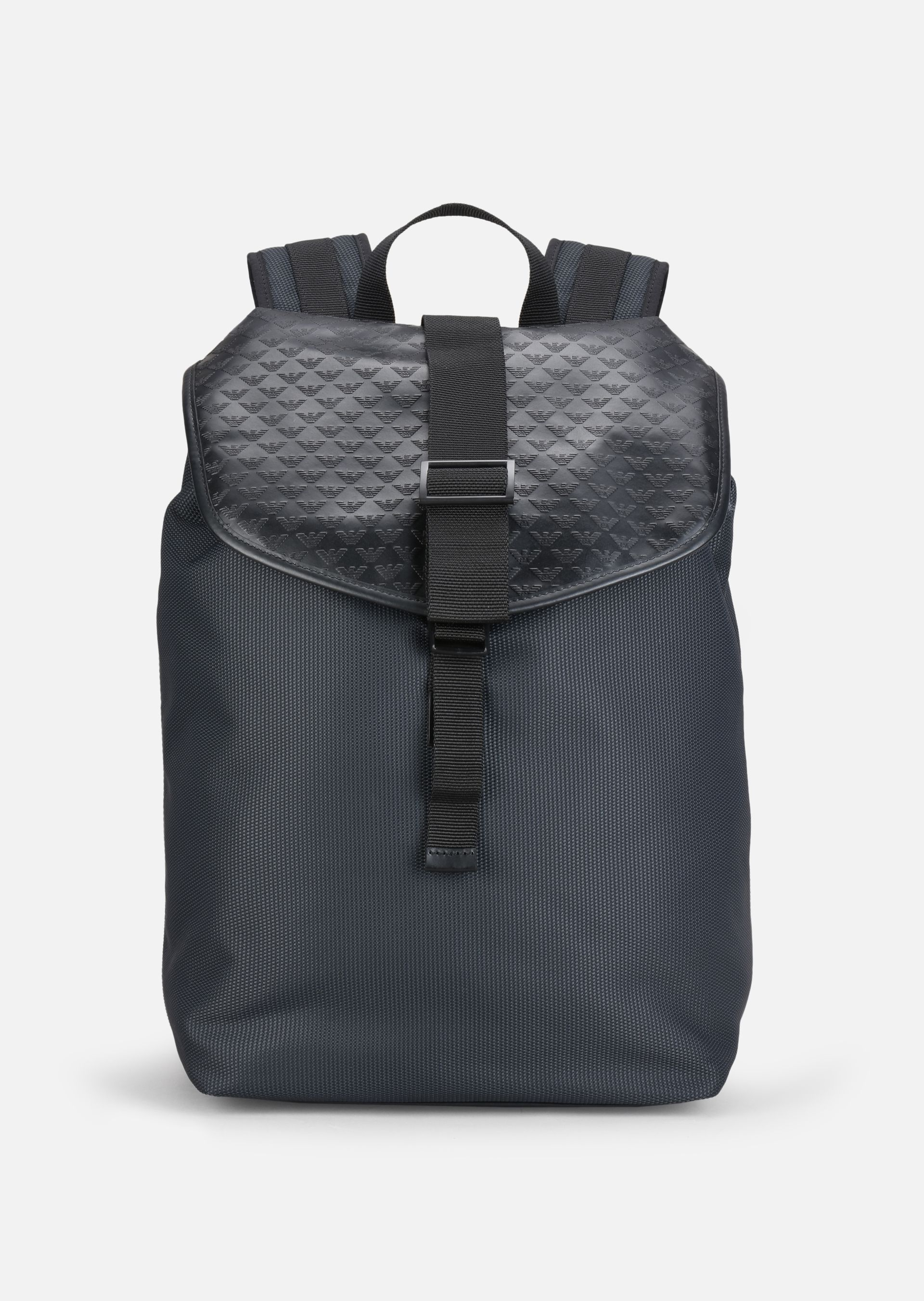 ALL OVER LOGO PRINT CORDURA AND LEATHER BACKPACK for Men | Emporio ...