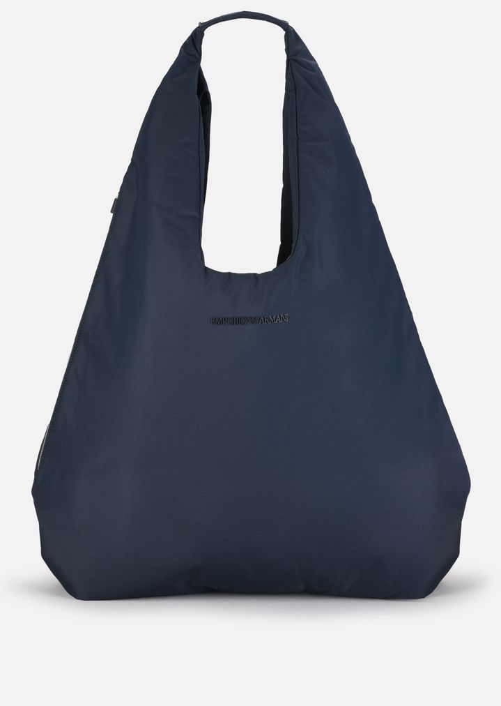 cc01333498 NYLON HOBO BAG WITH ECO-LEATHER DETAILS | Man | Emporio Armani