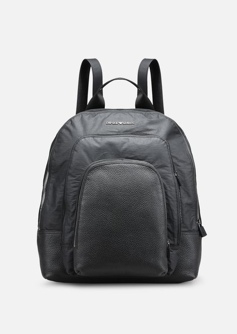 TUMBLED LEATHER AND NYLON BACKPACK WITH 3 POCKETS