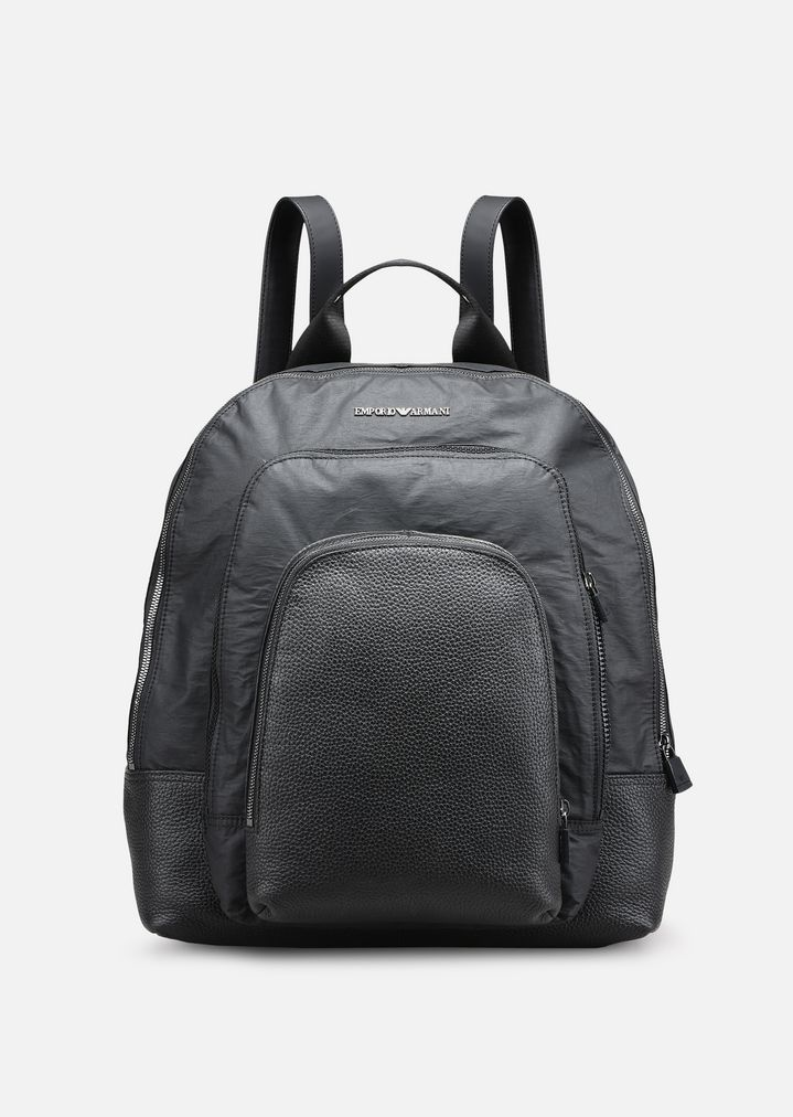 TUMBLED LEATHER AND NYLON BACKPACK WITH 3 POCKETS   Man   Emporio Armani f68c78039f