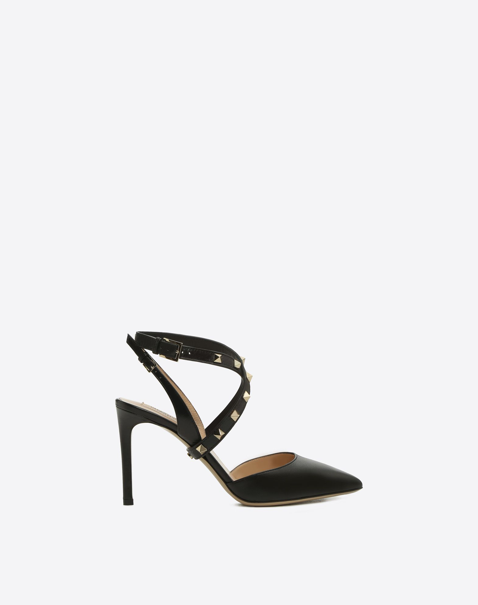 VALENTINO Solid color Stiletto heel Studs Buckling ankle strap closure  Narrow toeline Leather sole 45368098pq