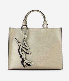KARL LAGERFELD K/SIGNATURE METALLIC SHOPPER