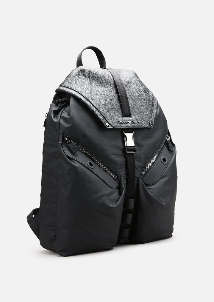 TUMBLED LEATHER AND NYLON BACKPACK   Man   Emporio Armani 22bb828e9d