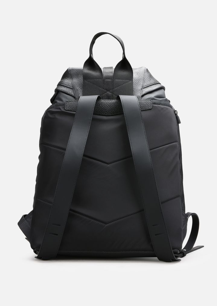 12781bc68067 TUMBLED LEATHER AND NYLON BACKPACK