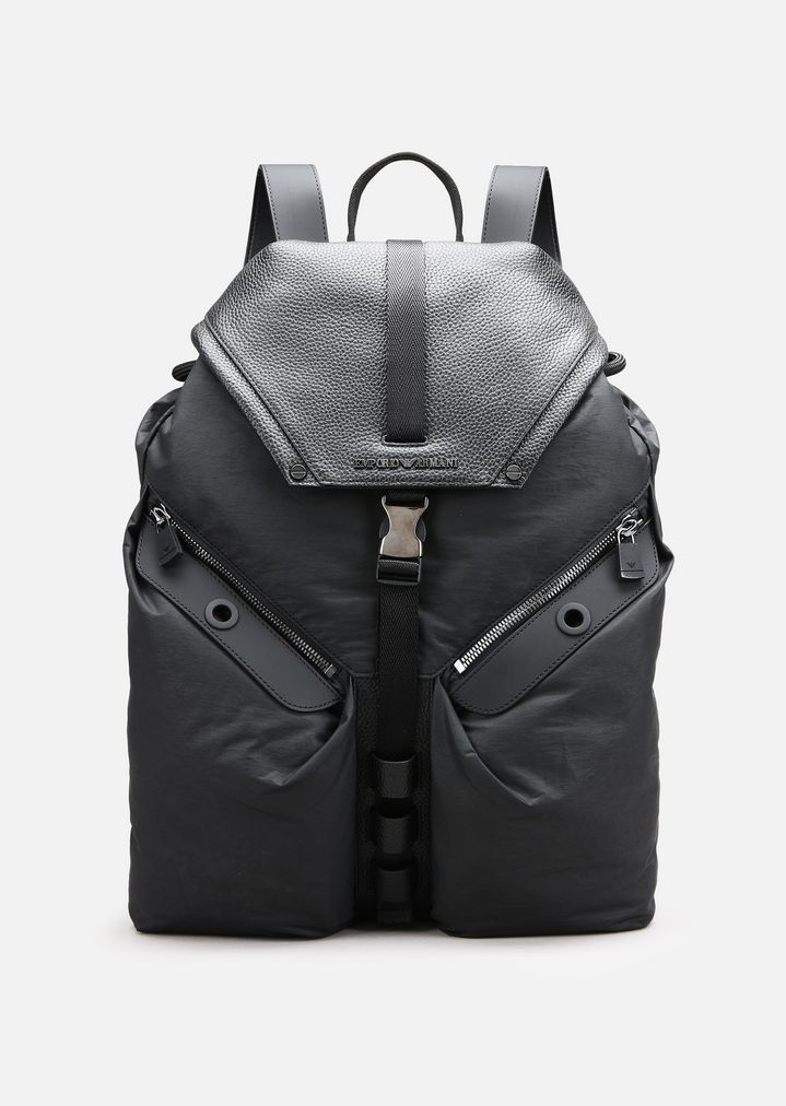 EMPORIO ARMANI TUMBLED LEATHER AND NYLON BACKPACK Backpack Man f 40419ec42d
