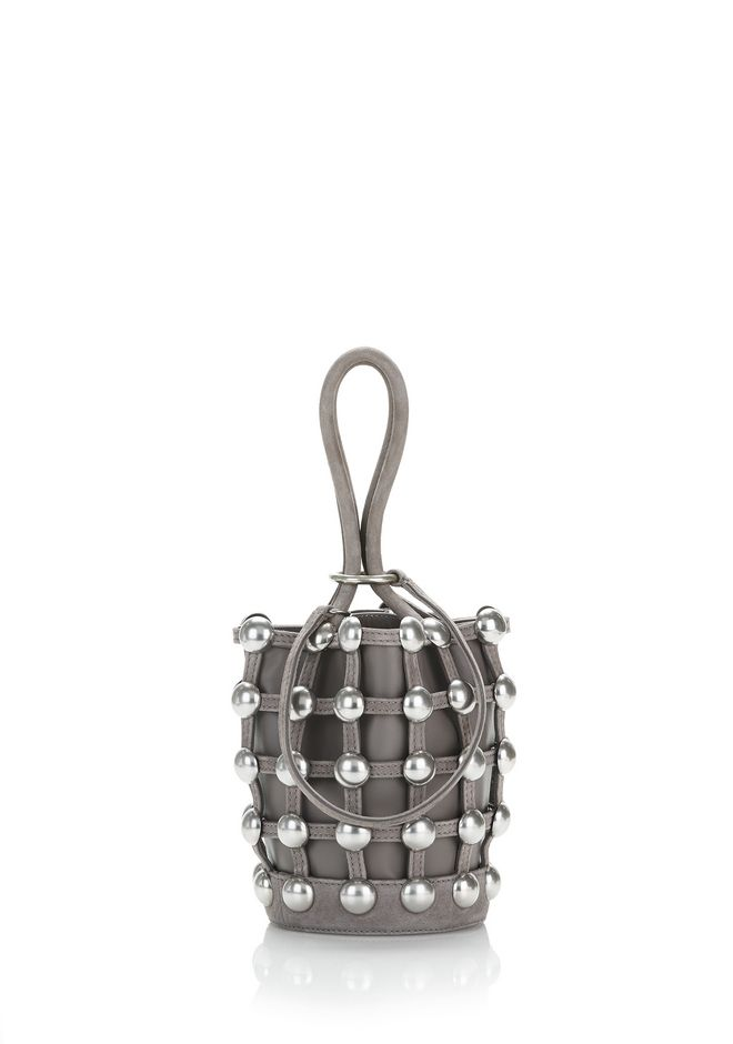 ALEXANDER WANG TOTES DOME STUD ROXY MINI BUCKET BAG IN SUEDE MINK