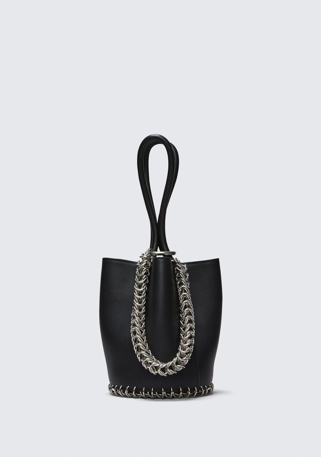 ALEXANDER WANG TOTES ROXY MINI BUCKET BAG IN BLACK WITH BOX CHAIN