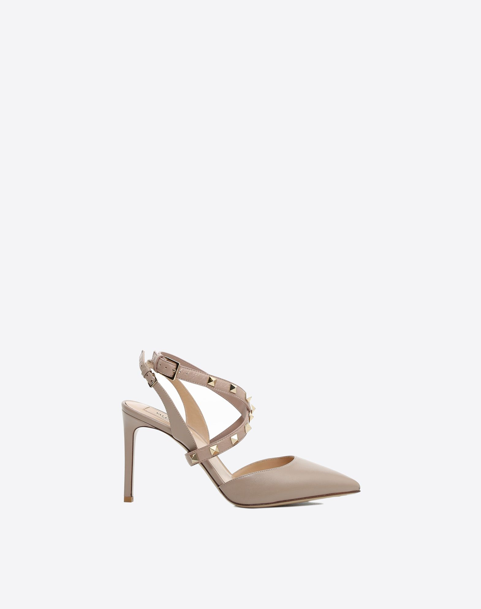 Rockstud 90 Cross Front Slingbacks in Poudre Leather with Studs Valentino 7lfyw0A8x