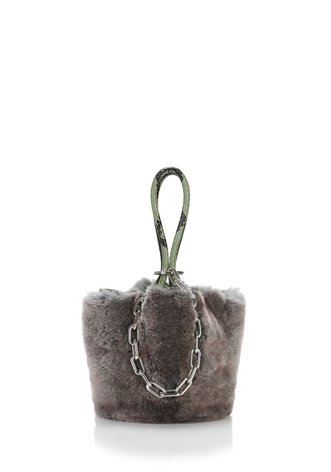 ALEXANDER WANG new-arrivals-bags-woman ROXY MINI BUCKET BAG IN GREY MELANGE FUR
