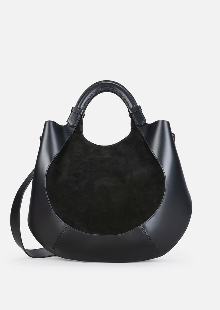 COWHIDE AND SPLIT LEATHER HOBO BAG WITH SHOULDER STRAP   Woman   Emporio  Armani 497ae0ea3f