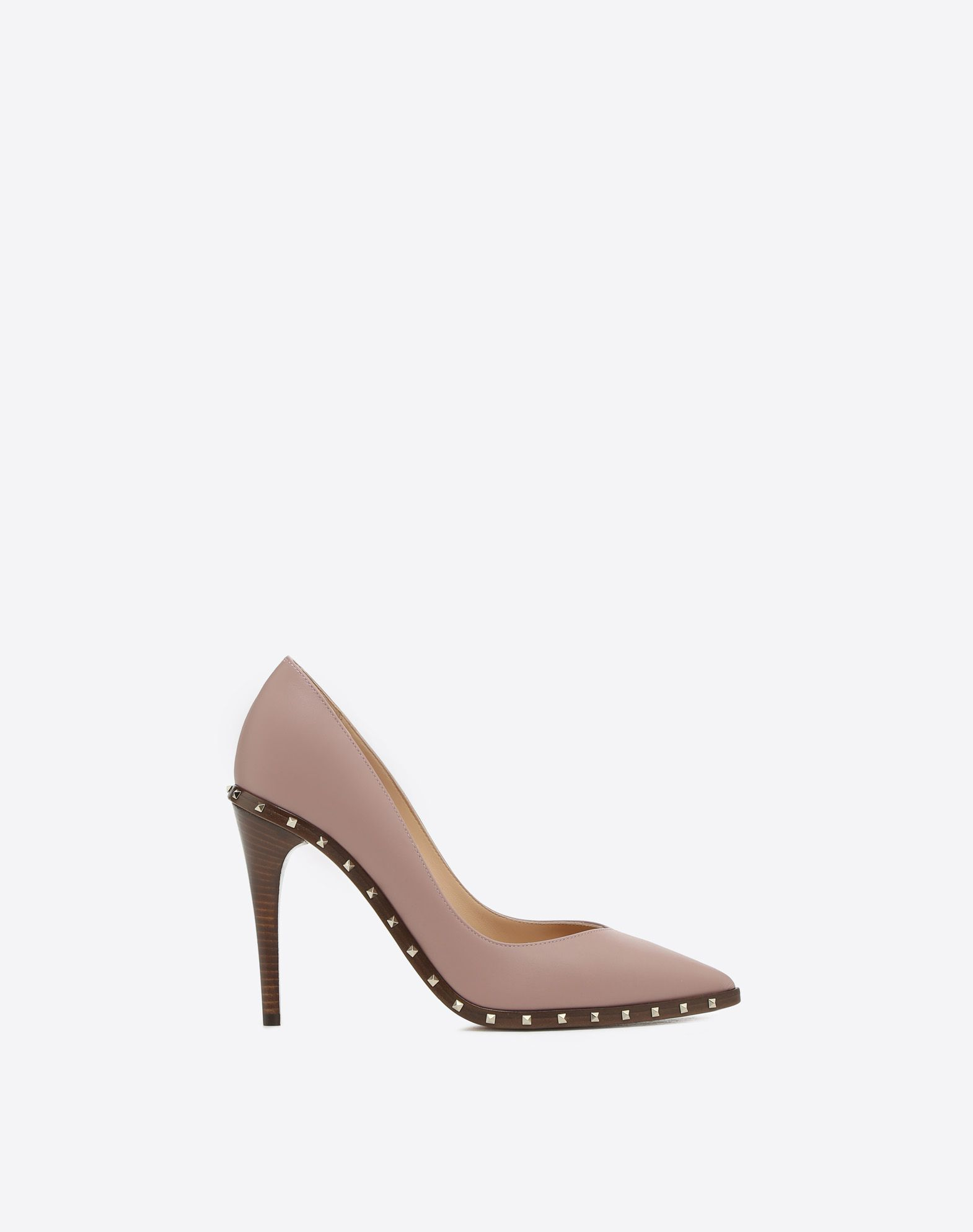 VALENTINO Solid color Spike heel Studs Narrow toeline Leather lining Leather sole  45369583av