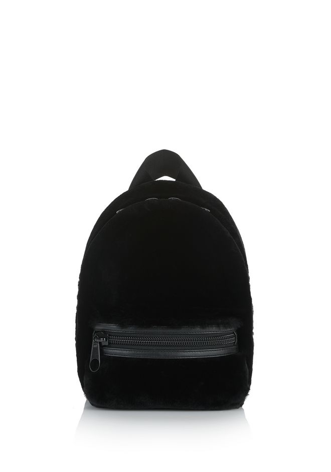 ALEXANDER WANG BACKPACKS PRIMARY BACKPACK IN BLACK SHEARLING WOOL