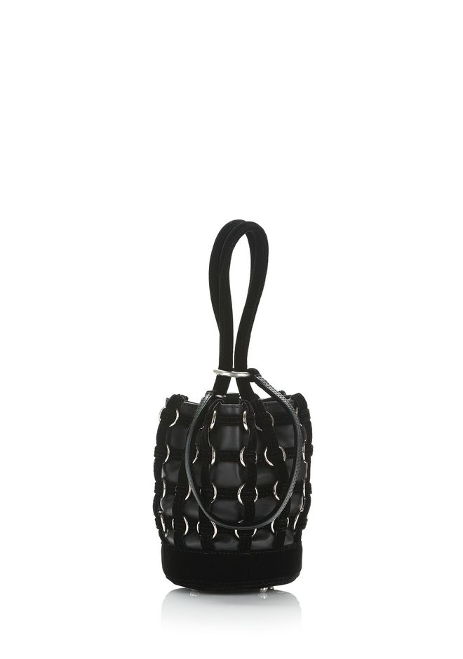 ALEXANDER WANG MESSENGER BAGS CAGED ROXY MINI BUCKET IN BLACK WITH RHODIUM
