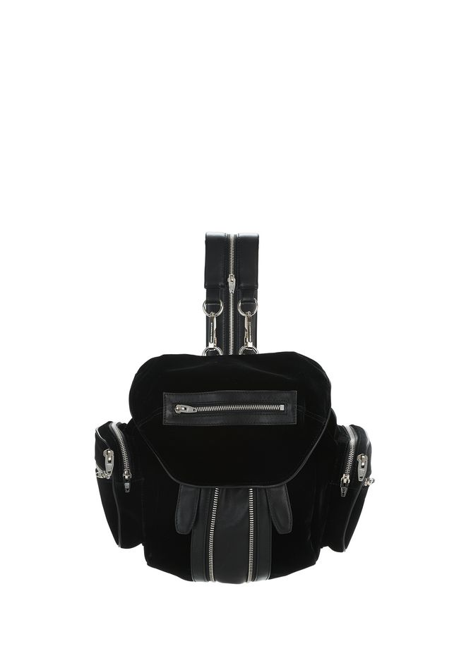 ALEXANDER WANG BACKPACKS Women MINI MARTI BLACK IN BLACK VELVET WITH RHODIUM