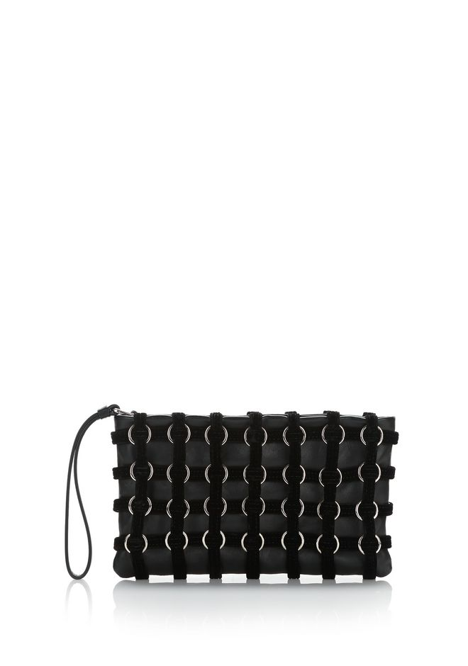 ALEXANDER WANG CLUTCHES ROXY CAGE POUCH IN BLACK VELVET
