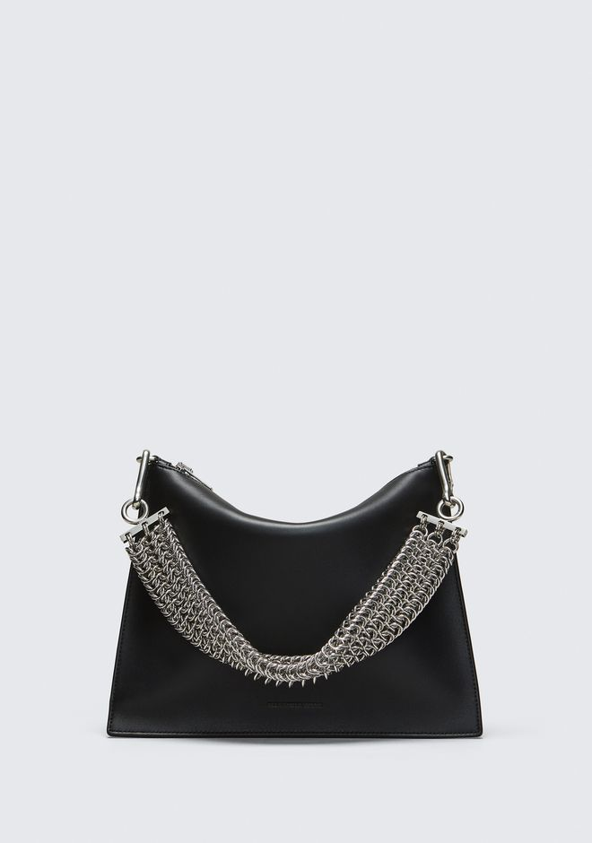 ALEXANDER WANG GENESIS POUCH IN BLACK WITH BOX CHAIN CLUTCH Adult 12_n_f