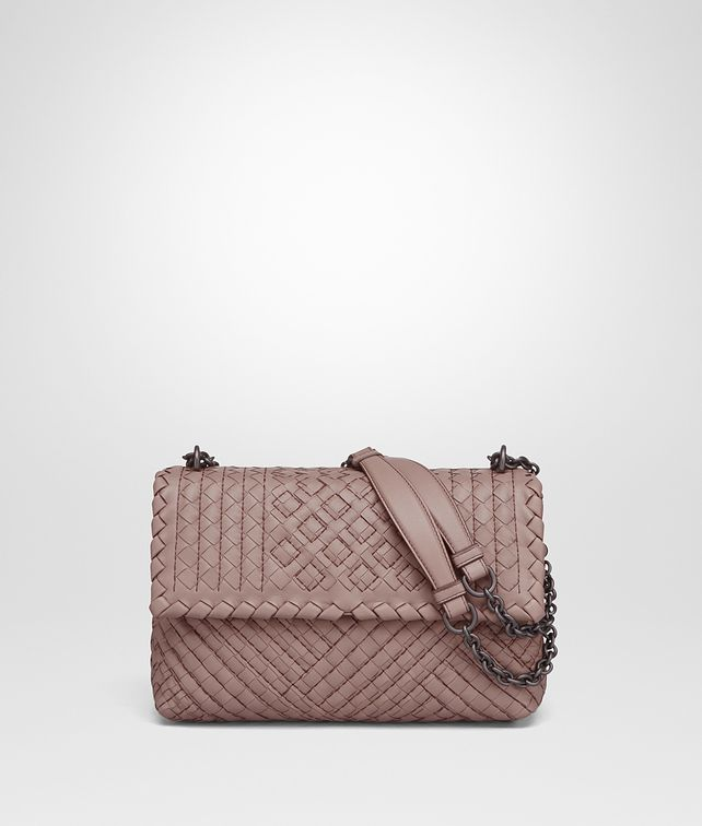 BOTTEGA VENETA SMALL OLIMPIA BAG IN DESERT ROSE INTRECCIATO CALF, EMBROIDERY DETAILS Shoulder Bag Woman fp