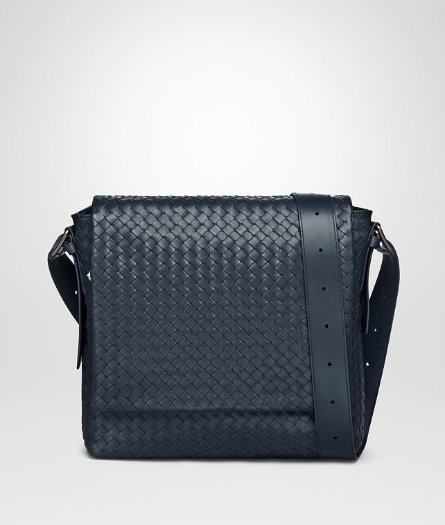BOTTEGA VENETA MESSENGER BAG IN DENIM INTRECCIATO CALF Messenger Bag [*** pickupInStoreShippingNotGuaranteed_info ***] fp