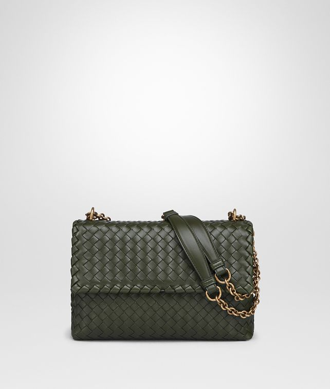 BOTTEGA VENETA SMALL OLIMPIA BAG IN MOSS INTRECCIATO NAPPA LEATHER Shoulder or hobo bag D fp