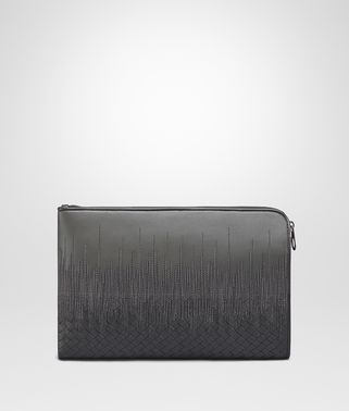 DOCUMENT CASE IN NEW LIGHT GREY  ARDOISE EMBROIDERED NAPPA LEATHER , INTRECCIATO DETAILS