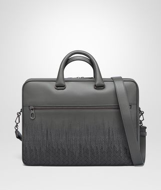 BRIEFCASE IN NEW LIGHT GREY  ARDOISE EMBROIDERED NAPPA LEATHER, INTRECCIATO DETAILS