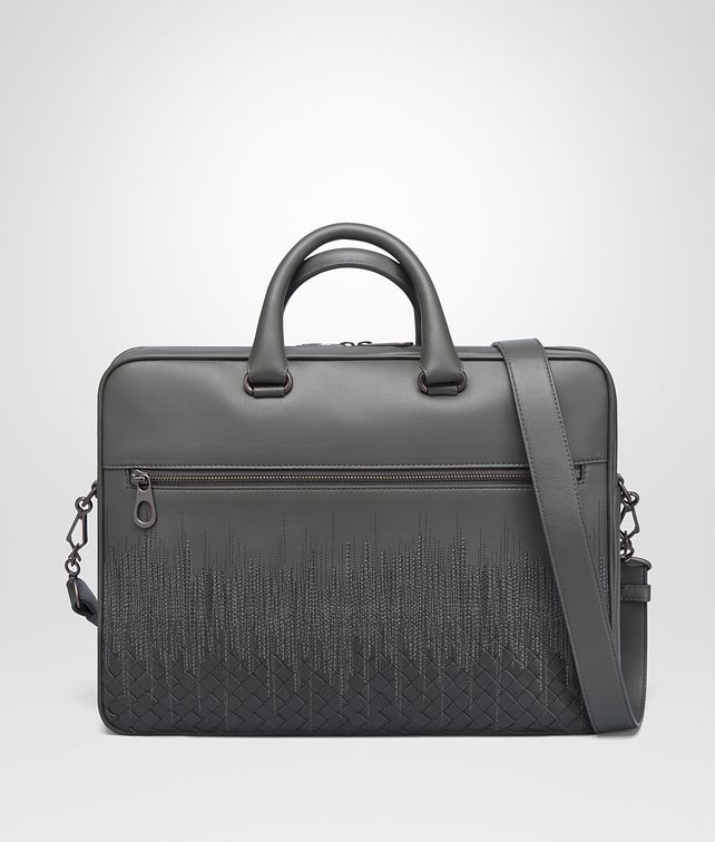 BOTTEGA VENETA BRIEFCASE IN NEW LIGHT GREY ARDOISE EMBROIDERED NAPPA LEATHER, INTRECCIATO DETAILS Business bag Man fp