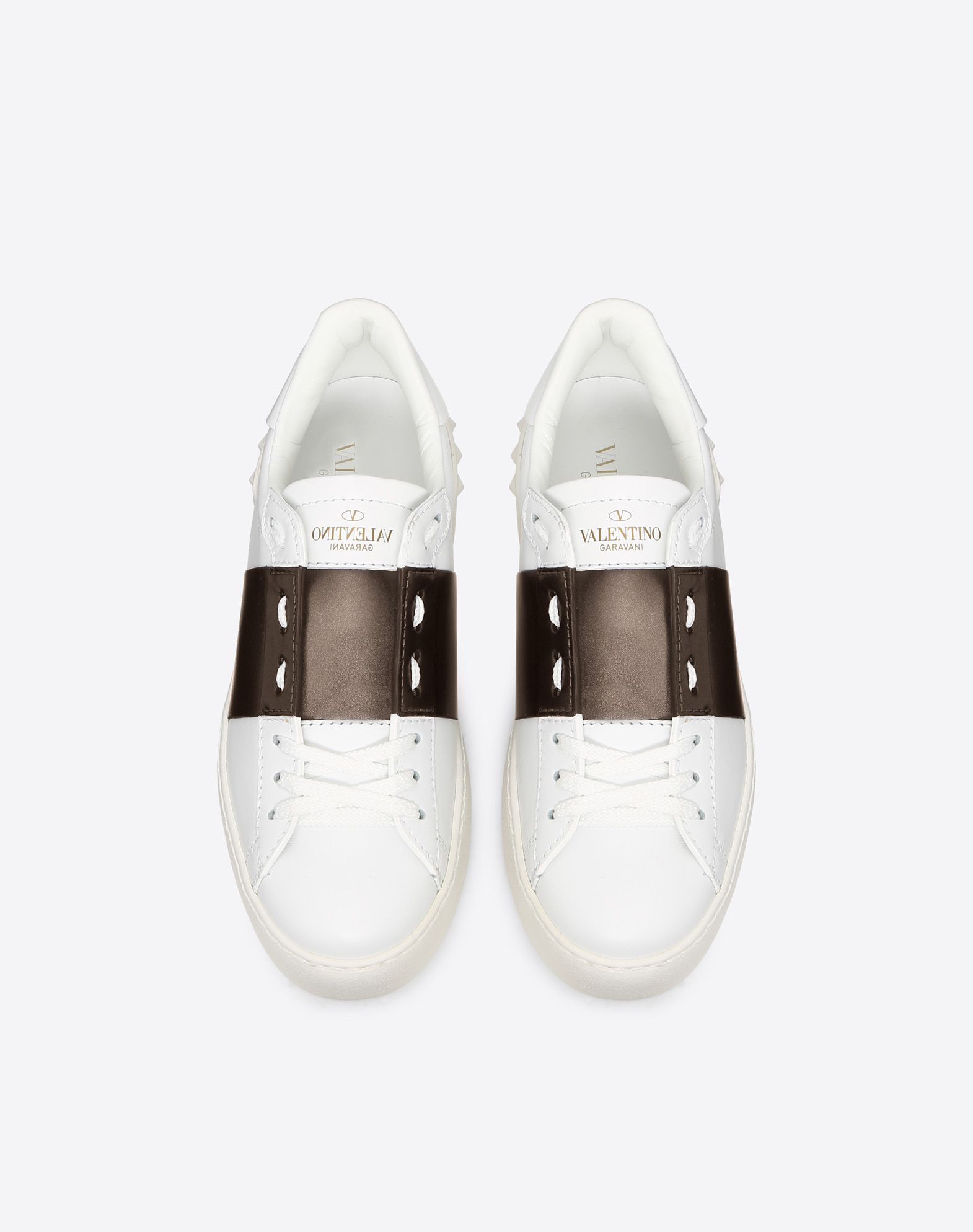 VALENTINO Laminated effect Two-tone pattern Round toeline Leather lining Laces Logo Studs  45371289ad
