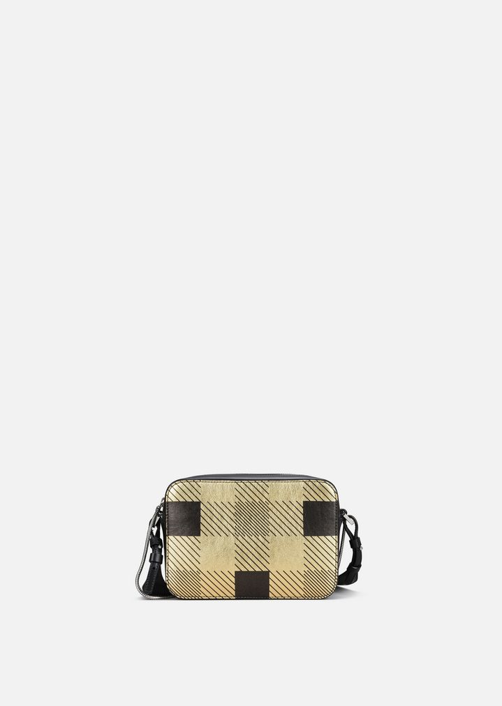 19363f8a6e LEATHER CROSS-BODY BAG WITH LAMINATED TARTAN PRINT | Woman | Emporio ...